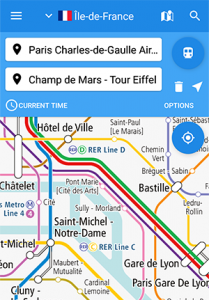"The railway map of France on our app ""World Transit Maps"""
